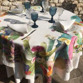 "Tessitura Toscana Tellerie, square linen tablecloth ""KAKTUS"""