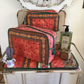 """Quilted coton toiletry bag """"Tradition"""" orange"""