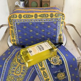 """Quilted coton toiletry bag """"Bastide"""" blue and yellow"""