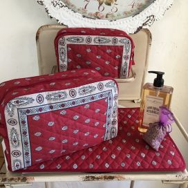 """Quilted coton toiletry bag """"Bastide"""" red and grey"""
