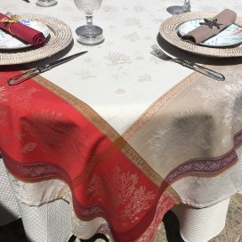 """Rectangular Jacquard tablecloth """"Oceane"""" corail by Tissus Toselli"""