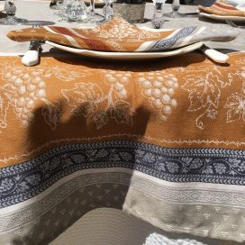 """Square Jacquard tablecloth """"Coteaux"""" beige and ocre by Tissus Toselli"""