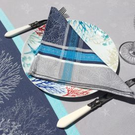 """Jacquard table napkins """"oceane"""" blue by Tissus Toselli"""