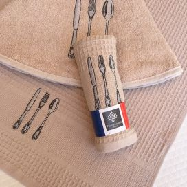 """Embrodery kitchen or hand towel """"Cutlery"""" beige"""