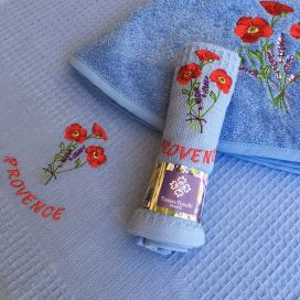 """Embrodery kitchen or hand towel """"Poppies and lavender"""" blue"""