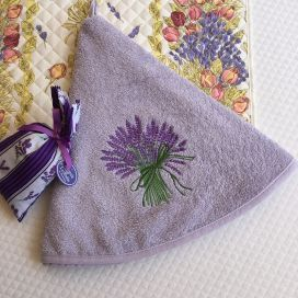 """Embrodery round hand towel """"Lavenders"""" parme"""