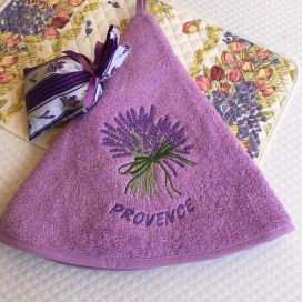 """Embrodery round hand towel """"Lavenders"""" mauve"""