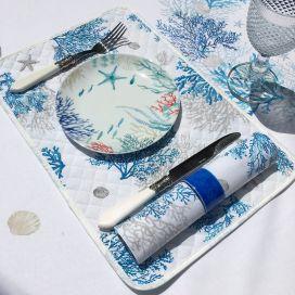 """Set de table en coton matelassé """"Lagon"""" Bleu et blanc"""