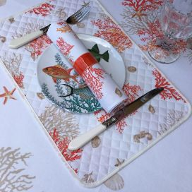 """Set de table en coton matelassé """"Lagon"""" orange et corail"""
