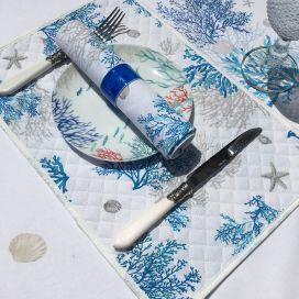 """Set de table en coton matelassé enduit """"Lagon"""" bleu et turquoise"""