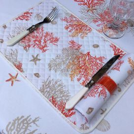 """Coated quilted placemat in cotton """"Lagon"""" orange and corail"""