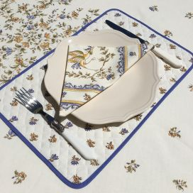 """Quilted cotton placemat """"Moustiers"""" blue"""