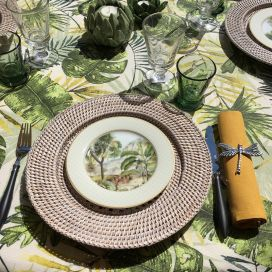 """Square coated cotton tablecloth """"Botanique"""" green Sud Etoffe"""