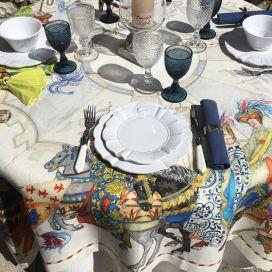 "Tessitura Toscana Telerie, rectangular linen tablecloth ""Chevaliers"""