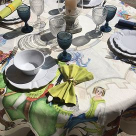 """Tessitura Toscana Telerie, square linen tablecloth """"Chevaliers"""""""