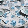 """Cotton tablecloth """"Lagon"""" blue and turquoise from Tissus Toselli"""