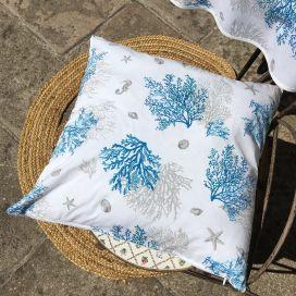 """Housse de coussin en coton """"Lagon"""" bleu et turquoise"""