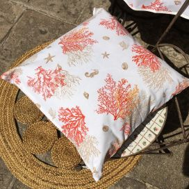 "Cotton cushion cover ""Lagon"" orange and corail"