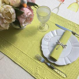 "Table runner, Boutis fashion ""Calliope"" yellow Sud-Etoffe"
