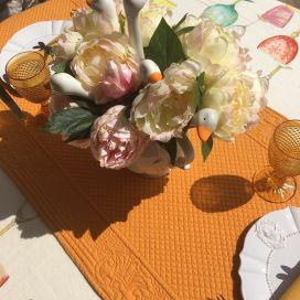 "Table runner, Boutis fashion ""Calliope"" orange Sud-Etoffe"