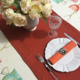 """Table runner, Boutis fashion """"Calliope"""" ocre Sud-Etoffe"""