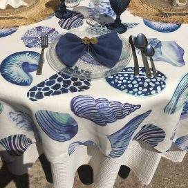 """Tessitura Toscana Tellerie, square linen tablecloth """"Cyprea"""""""