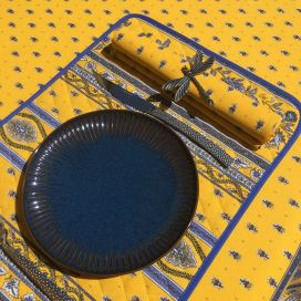 "Quilted cotton placemat ""Avignon"" yellow and blue ""Marat d'Avignon"""