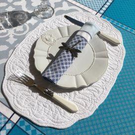 """Ovale table mats, Boutis fashion """"Autrefois"""" white"""