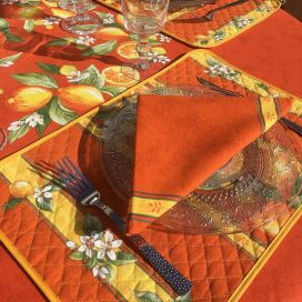 "Quilted cotton placemat ""Lemons""  yellow and blue"