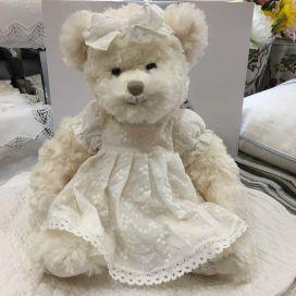 Barbara Bukowski - Teddy bear Lilla Fröken White dress