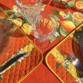 "Set de Table en  coton  matelassé  ""Citrons"" orange"