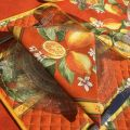 """Quilted cotton placemat """"Lemons""""  yellow and blue"""