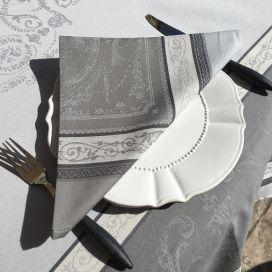 """Serviette de table Jacquard """"Versailles"""" gris, Tissus Toselli"""