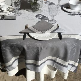 """Rectangular Jacquard tablecloth """"Versailles"""" grey, by Tissus Toselli"""