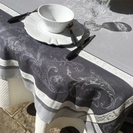 """Square Jacquard tablecloth """"Versailles"""" grey, by Tissus Toselli"""