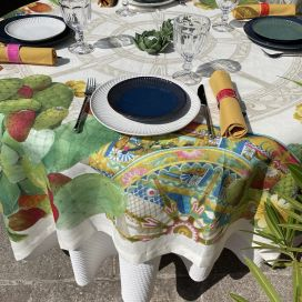"Tessitura Toscana Telerie, square linen tablecloth ""Mediterraneo"""