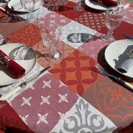 """Round Jacquard tablecloth, stain resistant Teflon """"Carces"""" red and  grey"""