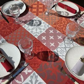 """Rectangular coated Jacquard tablecloth, stain resistant Teflon """"Carces"""" red and grey"""