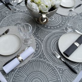 """Rectangular Jacquard polyester tablecloth """"Bulles"""" grey from """"Sud Etoffe"""""""