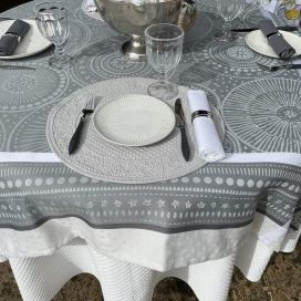 """Square Jacquard polyester tablecloth """"Bulles"""" grey from """"Sud Etoffe"""""""