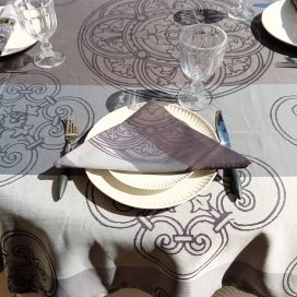 """Rectangular Jacquard polyester tablecloth """"Barcelone"""" grey from """"Sud Etoffe"""""""