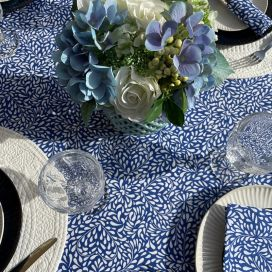"""Cotton tablecloth """"Ondine"""" blue and white by Tissus Toselli in Nice"""