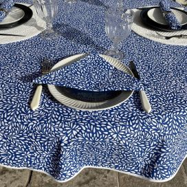 """Round cotton tablecloth """"Ondine"""" blue and white by Tissus Toselli in Nice"""