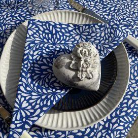 """Serviette en coton """"Ondine"""" bleue et blanche"""