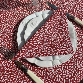 """Cotton table napkins """"Ondine"""" red and white"""