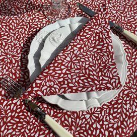 """Serviette en coton """"Ondine"""" rouge et blanche"""