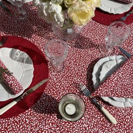 """Cotton tablecloth """"Ondine"""" red and white by Tissus Toselli in Nice"""