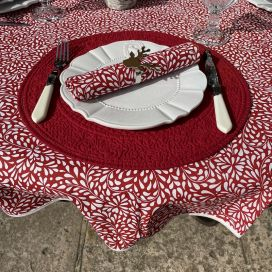"""Round cotton tablecloth """"Ondine"""" red and white by Tissus Toselli in Nice"""