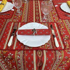 "Provence rectangular tablecloth in cotton ""Avignon"" red and yellow ""Marat d'Avignon"""