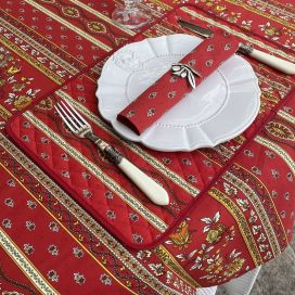 """Provence rectangular coated cotton tablecloth """"Avignon"""" red and yellow by """"Marat d'Avignon"""""""